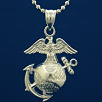 US Marines .925 Sterling Silver Necklace - United States Marine Corps Military Jewelry - USMC Charm On Chain - Armed Forces Pendant Emblem - Soldier Gifts For Men And Women
