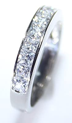 Free Engraving Of Your Choice! Ah! Jewellery Ladies Sparkling Swarovski Elements Princess Cut Half Eternity Rhodium Electroplated Band Ring. 4mm Total Width. 2.5gr Total Weight. Outstanding Quality.