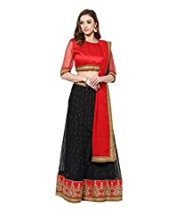 Yepme Deja Lehenga Choli Set - Red & Black -- YPMLEHG0044_Free Size