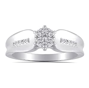 Women's Sterling Silver Round Diamond Cluster Engagement Ring (0.20 cttw, I-J Color, I2 Clarity) Size 7
