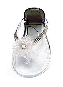Sorbet Rhinestone Flip Flop with Flower (Latte, Medium - 8/9)