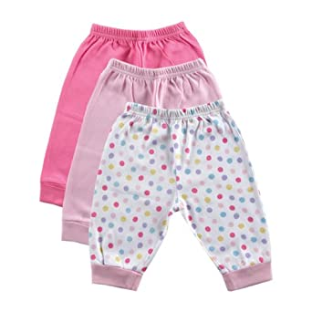 Luvable Friends 3-Pack Baby Pants, Pink, 0-3 months