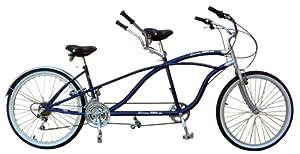 2WheelBikes Tandem Beach Cruiser 18 Speed Bicycle