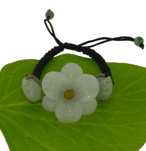 Just a Simple Carving of an Amaryllis Flower Embellished with Oval Jade Beads on Each Side Made with Black Cord