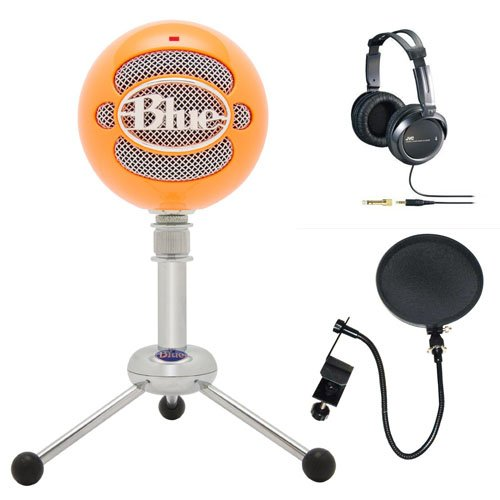 Blue Microphones Snowball Usb Microphone (Bright Orange) With Jvc Full-Size Studio Headphones & Cad Audio Microphone Pop Filter