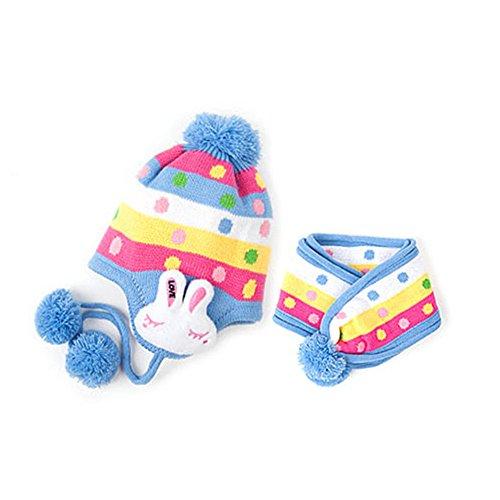 Topro Lovely warm mit Ohrenklappen Bunny Ohrenschützer Beanie Hat Cap + Schal Set für Baby Gr. One Size, Blau
