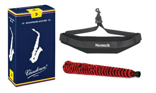 Vandoren Alto Saxophone Reeds #3 - 10 Pack, Neotech Sax Strap, and H.W. Alto Sax Pad-Saver free shipping ems genuine france selmer tenor saxophone r54 professional b black sax mouthpiece with case and accessories 9
