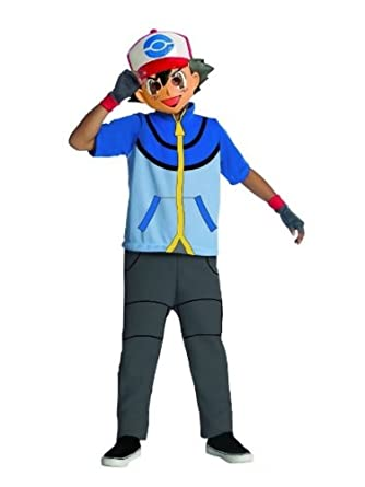 Amazon.com: Rubies Boys Pokemon Trainer Ash Ketchum Costume With Mask