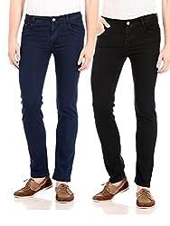 FlyJohn Men's Combo of Two Colors Slim Fit Denims Cotton Lycra Jeans