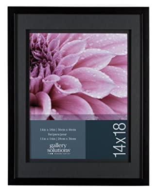 Gallery Solutions Wall Frame with Airfloat Mat, 14 by 18-Inch Matted Opening to Display 11 by 14-Inch Photo, Black