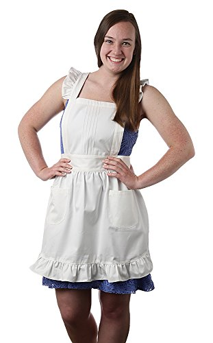 Womens Retro Traditional White Apron with Bib and Pockets, Victorian Pinafore for Cooking or Costume Medium