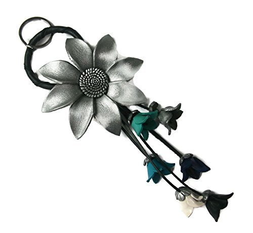 bella-pazzo-silver-color-handmade-sunflower-flower-leather-keychain-key-ring-clasp-bag-charm-handbag