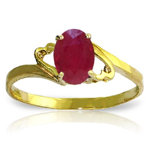 14k Yellow Gold Ring with Natural Oval-shaped Ruby - Size 6.0