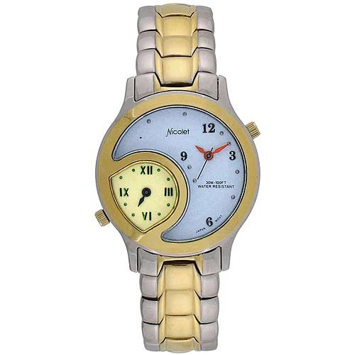 Nicolet Men'S Silver And Gold Tone Analog Watch With Dual Time Zones. Model Nc-1059M