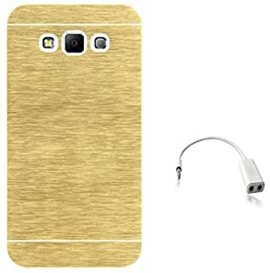 Tidel Golden Durable Aluminium Brushed Metallic Back Cover For Samsung Galaxy J5 With Audio Spliter