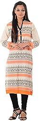Kaashvi Creations Women's Cotton Straight Kurta (99901000000039-L, Orange , Large)