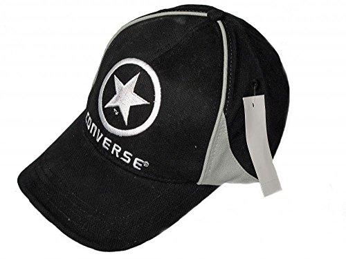 Converse da uomo in cotone nero e grigio da Baseball regolabile con visiera taglia unica Black Etichettalia unica