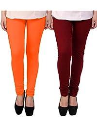 BrandTrendz Orange And Maroon Cotton Pack Of 2 Leggings
