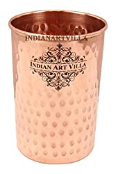 IndianArtVilla Flat Hammered Copper Glass Tumbler Cup - Serving & Drinking Water Home Hotel Restaurant Tableware Good Health Benefit Yoga Ayurveda