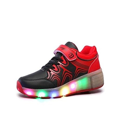 Pamray LED Turnschuhe Heelys Rad Roller Schuhe Sportschuhe Kid Jugend Mädchen Jungen Mode leuchten Schuh Schwarz 38