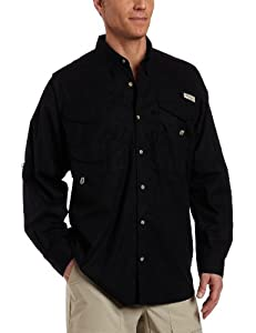 Columbia Men's Bonehead Long Sleeve Fishing Shirt (Black, Medium)