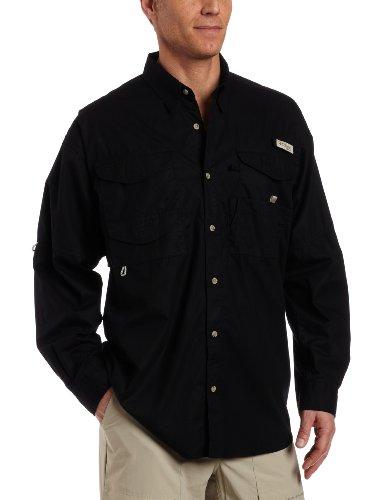 Columbia men 39 s bonehead long sleeve fishing shirt black for Mens medium long sleeve shirts