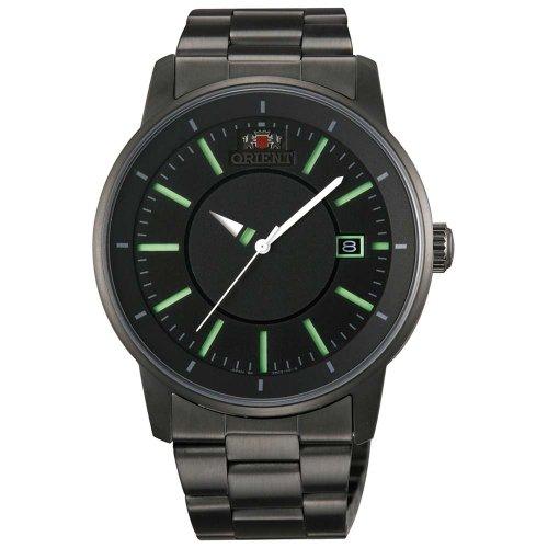 Orient ER02005B Men's Disk Automatic Unique Rotating Disk Hour Hand Green Accents Black Dial Watch