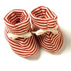 Sckoon Organic Cotton Zen Booties in Red Stripes - Newborn-6 Months