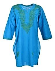 Naurati Exports Women's Cotton Straight Kurta (nau#21, Blue, XXX-Large)