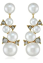 """Anne Klein """"High Society Pearl"""" Gold-Tone Crystal Blanc Clustered Linear Drop Earrings"""