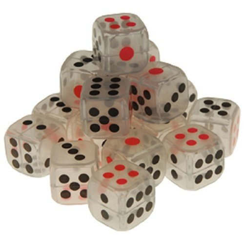 "Large Dozen 1"" Glow In The Dark Dice Black And Red Dots - 1"