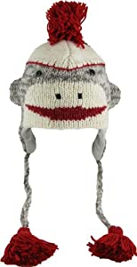 DeLux Sock Monkey Face Wool Pilot Animal Cap/Hat with Ear Flaps and Poms