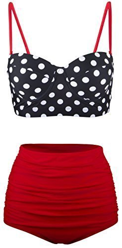 Angerella Women Vintage Polka Dot High Waisted Bathing Suits Bikini