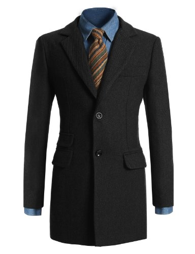 Jiniy Mens Wool Overcoat BLACK XXL