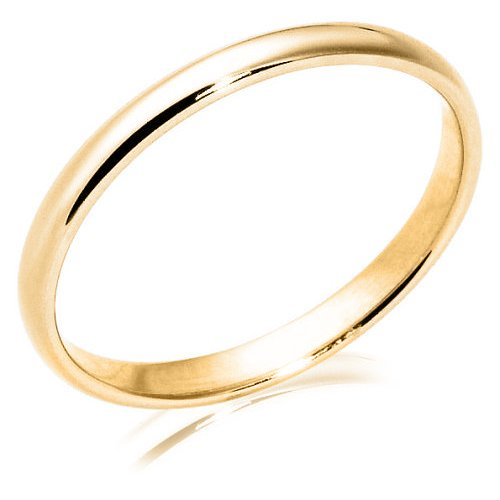 Women's 10k Yellow Gold 2mm Traditional Wedding Band Ring, Size 4