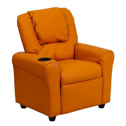 """27"""" Contemporary Orange Vinyl Kids Recliner w/ Cup Holder & Headrest (1 Chair) - FF-DG-ULT-KID-ORANGE-GG"""