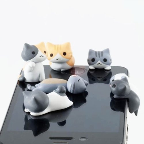 ZOEAST 6pcs Little Grey Sweet Home Cat Kitten Kitty Dust Plug 3.5mm Phone Headphone Jack Earphone Cap Ear Cap Dust Plug Charm iPhone 4S 5 5S SE 6 6S Plus HTC Samsung IPad IPod (6pcs with 6 Cats) (Cat Phone Jack compare prices)