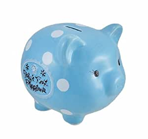 Blue baby s first piggy bank ceramic coin bank 8 in toys games - Ceramic piggy banks for boys ...