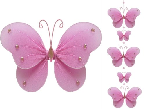 String Of Hanging Nylon Butterflies, Butterfly Garland - Pink Ava Butterly Mobile
