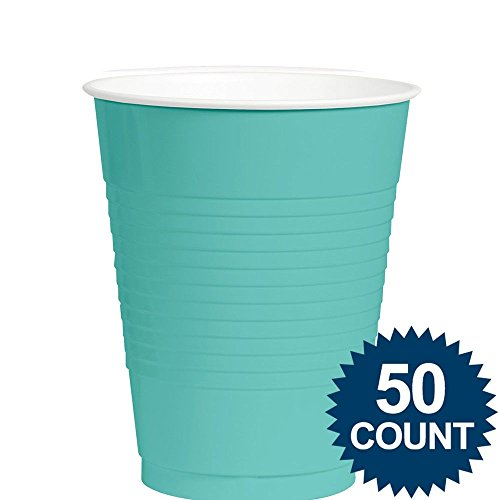Amscan Big Party Pack 50 Count Plastic Cups, 12-Ounce, Robbins Egg Blue
