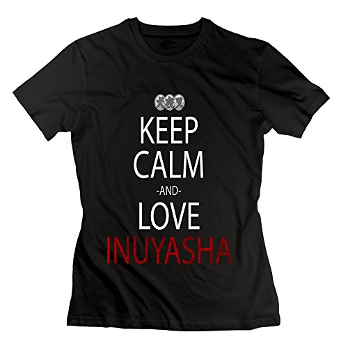 LianJian Inuyasha Keep Calm And Love Inuyasha Women's T-Shirt Medium Black Womens (Inuyasha Merchandise compare prices)