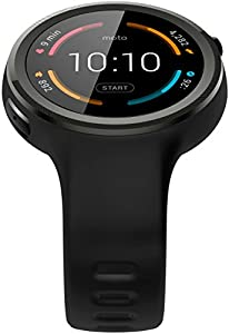 Motorola Moto 360 Sport Smartwatch and Heart Rate/Activity Tracker with Bluetooth Connectivity Compatible with iPhones and Android Smartphones - Black