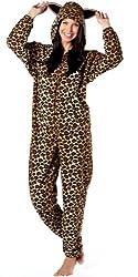 Ladies Animal Zip Through All in One Soft Fleece Hooded Onesie Jumpsuit, Romper Pyjamas with Ears