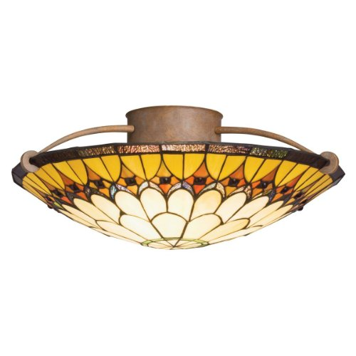 Kichler Lighting 69017 3-Light Artaxerxes Art Glass Semi-Flush Ceiling Light, Dore Bronze