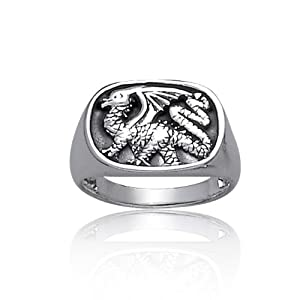 Bling Jewelry 925 Sterling Silver Dragon Ring for Men Antique Style from Bling Jewelry