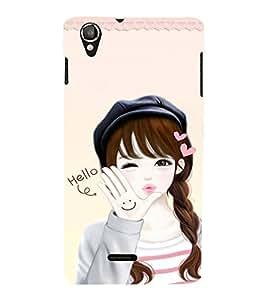 EPICCASE Girls says hello Mobile Back Case Cover For Lava Iris X800 / Lava Iris X800 (Designer Case)