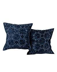 Soft Navy Blue Set of 2 Attractive Pillow Covers 16x16 Floral Embroidered Throw Pillow Trendy Cotton Cushion Cover By Rajrang