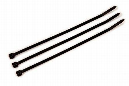 """8"""" Plenum Rated Cable Ties-Black - 100 Per Bag -50Lbs. With Double Sided Foam Tape front-358161"""