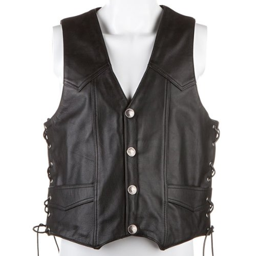 River Road Mens Wyoming Nickel Classic Leather Vest - Large
