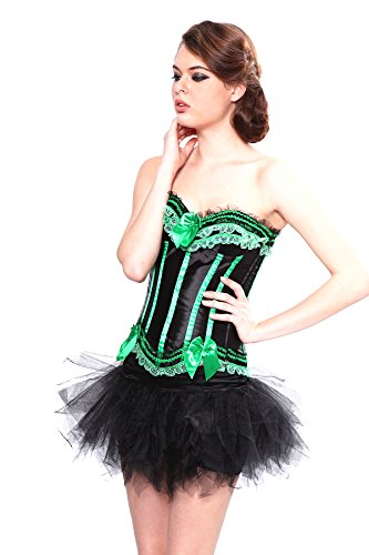 Angel&Me Sexy Large Size Black and Green Stripes Spandex satin Green Lace Corset Bustiers